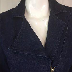 Vintage Dresses - Vintage Denim Jean Asymmetric Zipper Shirt Dress